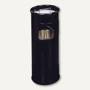 Durable Papierkorb, 17l, Metall, rund, mit Aschenbechereinsatz, schwarz, 333001