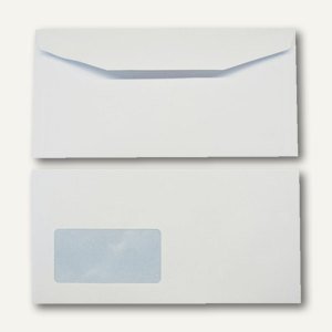 Kuvertierhüllen - C6/5, 114x229mm, 90g/m²m, Fenster, Offset, weiß, 1.000St., 250