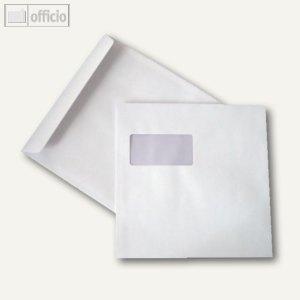 Briefumschläge 220 x 220mm, mit Fenster, nassklebend, weiß, 100g/qm, 100 St., 25