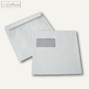 Briefumschläge 220 x 220 mm, mit Fenster, haftklebend, weiß, 100g/qm, 100 St.