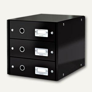 LEITZ Schubladenbox Click & Store WOW, 3 Schübe, DIN A4, schwarz, 6048-00-95