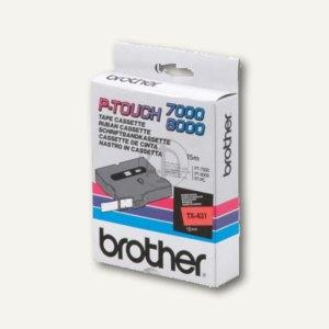 Brother Beschriftungsband 12 mm, schwarz auf rot, TX-431