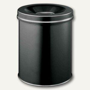 Durable Papierkorb SAFE, 15 Liter, rund, mit Flammenlöschkopf, schwarz, 330501