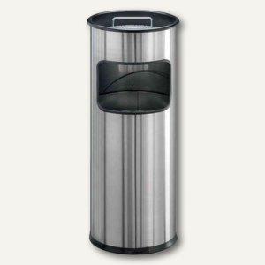 Durable Papierkorb mit Ascher, 17 Liter, Stahl, metallic silber, 3373-23