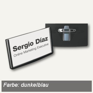 Durable Namensschilder FRAME mit Kombiklemme, 40x75mm, dunkelblau, 25St., 850307