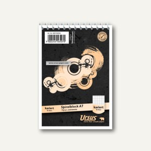 Ursus Spiralnotizblock, DIN A7, kariert, ECF, 70 g/qm, 40Bl., 608740020