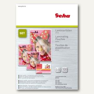 Geha Laminierfolientaschen-Set, DIN A4/A5/A6/A7, 160 mic, 100 Stück, 70093427