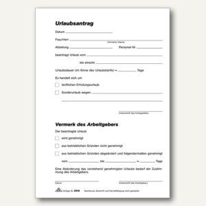 RNK Urlaubsantrag Formular, DIN A5, selbstdurchschreibend, 2x40 Blatt, 2916