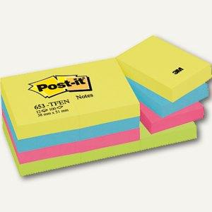 Post-it Haftnotizen Rainbow-Packs, 51 x 38 mm, 12 Blöcke, 653TFEN