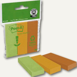 Post-it Recycling Page Marker, 25 x 76 mm, 3er Pack, 671-3R