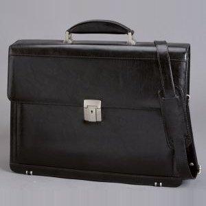 Alassio Aktentasche FOGGIA, Schultergurt, Laptopfach, Leder, schwarz, 47012
