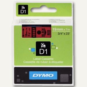Dymo D1 Etikettenband, 19 mm x 7 m, schwarz auf rot, S0720870