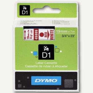 Dymo D1 Etikettenband, 19 mm x 7 m, rot auf weiß, S0720850