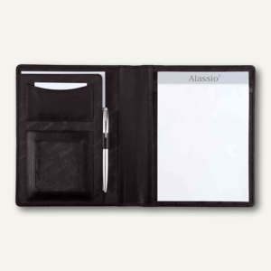 Alassio Schreibmappe BORMIO, DIN A5, Leder, schwarz, 43008