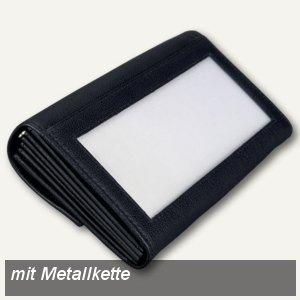 Alassio Kellnerbörse mit Metallkette, Leder, 175x100 mm, schwarz, 42066