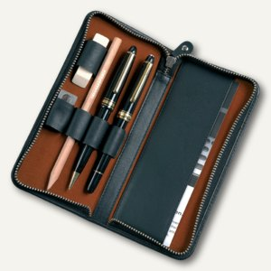 Alassio RV-Stiftetui für 3 Stifte, USB-Stickfach, Leder, schwarz, 2638