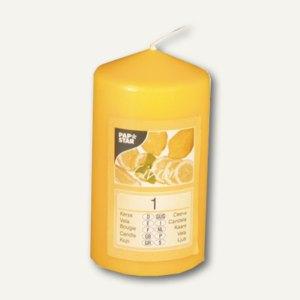 Papstar Duft-Stumpenkerze, Ø 60 mm, H 110 mm, gelb - Citron, 4 Stück, 83347