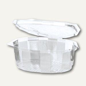 Papstar Salatschalen mit Deckel, oval, 1 Liter, PET glasklar, 240 Stück, 12052