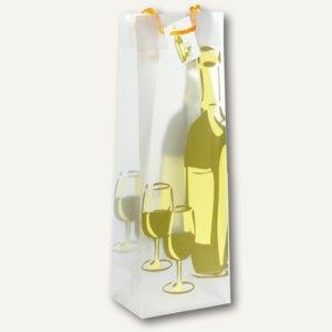 Papstar Weinflaschen-Tragetasche, für 1 Flasche, Weißwein-Dekor, 50 St., 16418