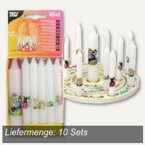 Papstar Geburtstagskerzen-Set, 10 Kerzen + 1 Lebenslicht, 10 Sets, 19327