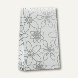 """Papstar Geschenktaschen """"Silver Flower"""" mittel, 23 x 14 x 5.5 cm, 200St., 81493"""