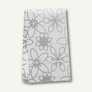 "Papstar Geschenktaschen ""Silver Flower"" groß, 33 x 20 x 6.5 cm, 200er-Pack,81494"