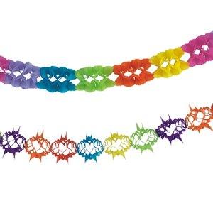 "Girlanden ""Rainbow"", Papier, 2 Girlanden: 4 m + 6 m, schwer entflammbar, 20 St.,"