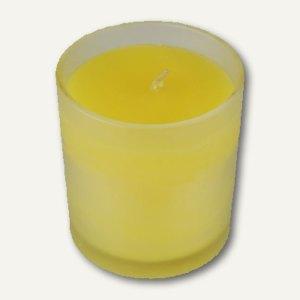 Papstar Glas mit Duftkerze, Ø 77 mm, H 70 mm, gelb - Citronella, 12 Stück, 13919