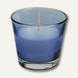 Papstar Glas mit Wachsfüllung, Ø 90 mm, H 80 mm, dunkelblau, 4er-Pack, 81384