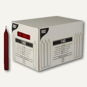 Papstar Haushaltskerzen, Ø 2.15 cm, H 19.5 cm, bordeaux, 140er-Pack, 10396