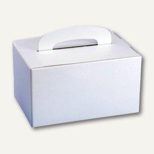 Lunch-Boxen mit Tragegriff, Pappe, eckig, 12.5x15.5x22.5 cm, weiß, 100St., 18779
