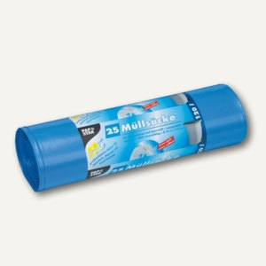 Papstar Müllsäcke, 120 Liter, 110 x 70 cm, 60 my, blau, 4 x 25 Stück, 12132