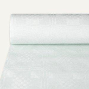 Papstar Papiertischtuch mit Damastprägung, 25 m x 1 m, weiß, 10er-Pack, 12541