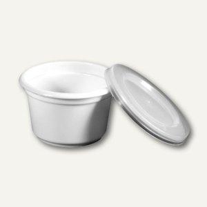 Portionsbecher mit Deckel, PS/PE, 28 ml, Ø 4.5cm, H 2.8cm, weiß-trans, 1.000 St.