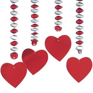 """Papstar Rotor-Spiralen """"Heart"""", Ø 5 cm, L 80 cm, rot/silber, 40er-Pack, 18998"""