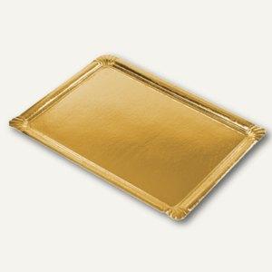 Papstar Servierplatten eckig, PE-beschichtet, 34 x 45.5 cm, gold, 90 St., 81011