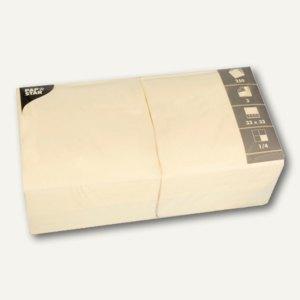 Papstar Servietten, 3-lagig, 1/4-Falz, 33 cm x 33 cm, creme, 1.000 Stück, 12478