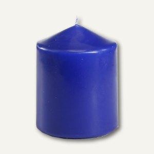 Papstar Stumpenkerze, Ø 80 mm, H 100 mm, dunkelblau, 6er-Pack, 13893