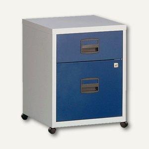 Büroschubladenschrank, 1 Material-, 1 HR-Schub, Rollen, grau / blau