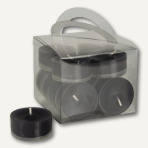 Papstar Teelichter, Ø 38 mm, H 18 mm, in Polycarbonathülle, schwarz, 96St.,10471