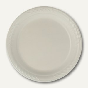 Papstar Teller rund, Ø 26 cm, 3 cm, weiß , EPS laminiert, 600 Stück, 18078