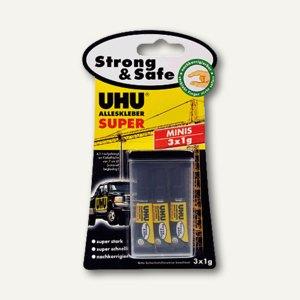 UHU Alleskleber SUPER Strong & Safe MINIS, 3x1g, Blisterkarte, 44305
