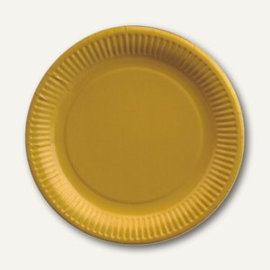 Papstar Teller, Pappe, rund, Ø 23 cm, gelb, 500er-Pack, 11978