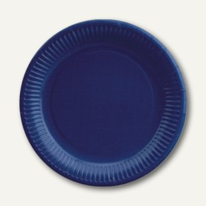 Papstar Teller, Pappe, rund, Ø 23 cm, dunkelblau, 500er-Pack, 11979