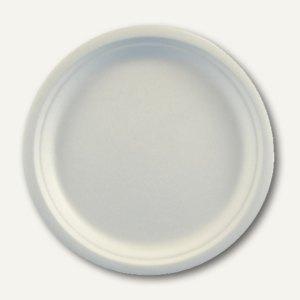 """Papstar Teller """"pure"""", Zuckerrohr, ungeteilt, Ø 23 cm, 2 cm hoch, 500 St., 81327"""