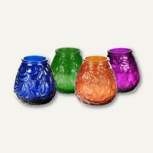 Windlichtglas mit Wachsfüllung, Ø 10cm, H 10.5cm, farbig sortiert, 12 St., 81419