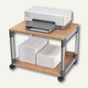 Bürowagen SYSTEM Multi Trolley 48, 2 Böden, metallic silber/buche, 3710124