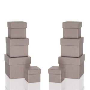 Rössler BOXLINE Kartonagen, quadratisch, div. Größen, taupe, 8 Stück, 1342453490