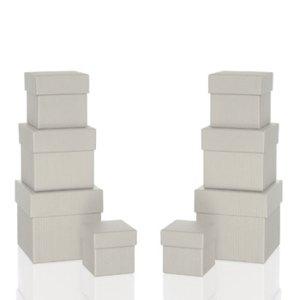 Rössler BOXLINE Kartonagen, quadratisch, div. Größen, stone, 8 Stück, 1342453170