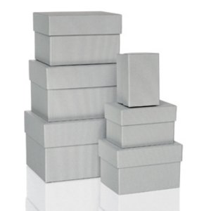 Rössler BOXLINE Kartonagen, rechteckig, div. Größen, stone, 6 Stück, 1344453170
